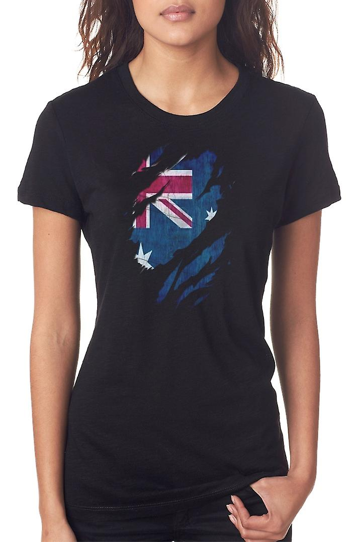 Australian Grunge Flag Ripped Effect Ladies T Shirt