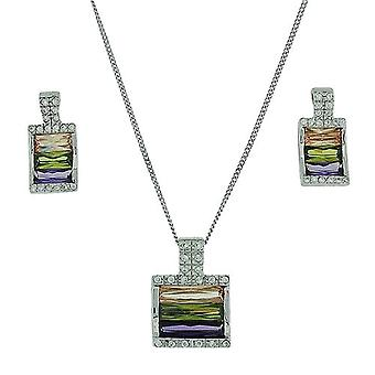 TOC Sterling Silver Multicoloured CZ Earrings & Pendant Necklace 18