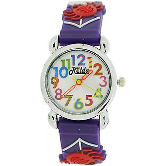 Relda Childrens Girl's 3D Spiders & Web On Purple Silicone Strap Watch REL103
