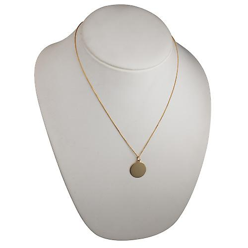 18ct Gold 19mm round plain Disc with a spiga Chain 20 inches