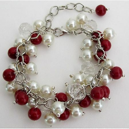 Christmas Holiday Red Ivory Pearls Cluster Clear Crystals Bracelet