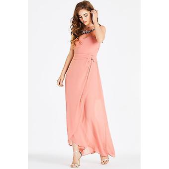 Little Mistress Carrie Orange Hand-Embellished Maxi Dress