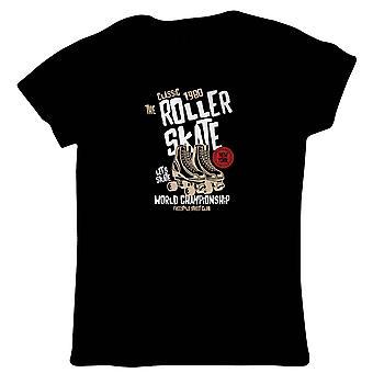 Roller Skate Womens T-Shirt   Timeless Retro Vintage Iconic Seminal Memorable    Roller Skate Blade Rink Ice Choreographer Figure    Skating Gift Her