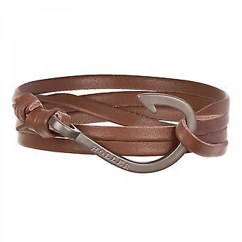 Holler Kirby  Black Sandblasted Hook / Brown Leather Bracelet  HLB-03BKS-L04