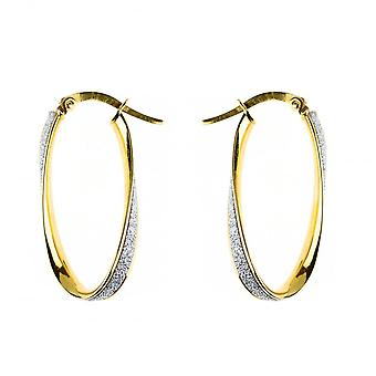 Eternity 9ct Gold Oval Moondust Twist Creole Hoop Earrings