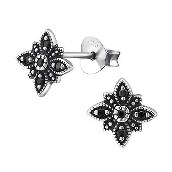 Flower - 925 Sterling Silver Cubic Zirconia Ear Studs - W30810X