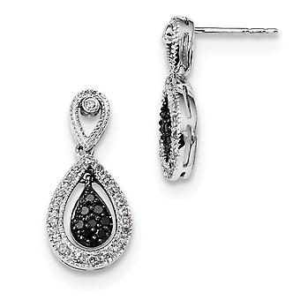 925 Sterling Silver Polished Prong set Gift Boxed Post Earrings Rhodium-plated Rhodium Plated Black and White Diamond Ea