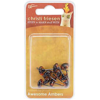 Christi Friesen Glass Eyes 9mm 10/Pkg-Awesome Amber CF726