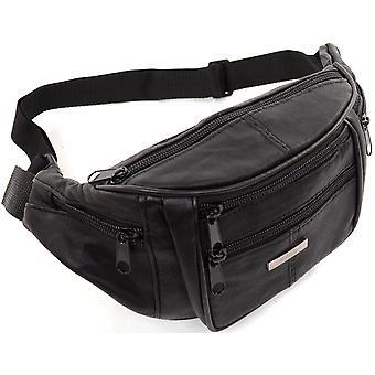 Unisex Nappa miękkie skórzane torby talii / pasa pieniądze / pośladki torbę z wieloma kieszeniami