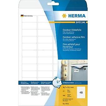 HERMA Labels A4 outdoor film 45.7x21.2 mm white extra strong adhesion film matt weatherproof 480 pcs. Herma 9531