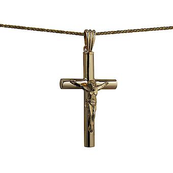 9ct Gold 40x25x4mm handmade Memorial Crucifix Cross with a spiga Chain 20 inches
