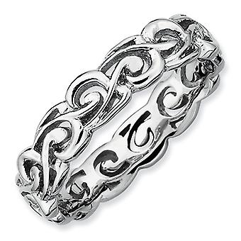 Sterling Silver Stackable Expressions Polished Ring - Ring Size: 5 to 10
