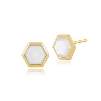 Gemondo Gold Plated Silver 2.20ct Mother of Pearl Hexagonal Prism Stud Earrings