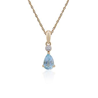 Gemondo 9ct Gelb Gold 0,52 ct blau Topas & Diamant Pear-Anhänger auf 45cm Kette