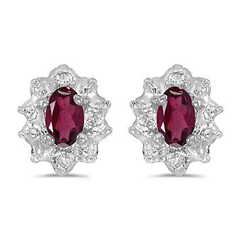 10k White Gold 5x3 mm Genuine Rhodolite Garnet And Diamond Earrings