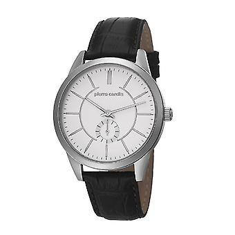 Pierre Cardin mens watch wristwatch TROCA silver leather PC106571F01