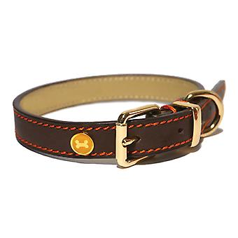 Luxury Leather Collar Brown 3/4
