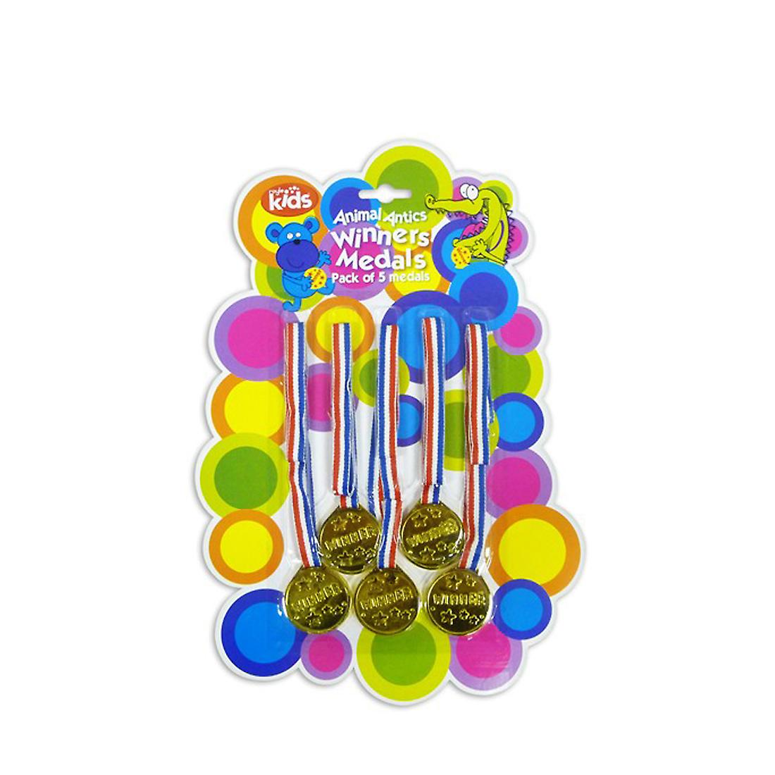 Winners Medals Pack of 5 Fun Gold for Parties Games Competitions