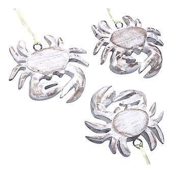Hvidkalkede Krabbe udskåret træ ferie smykker sæt af 3