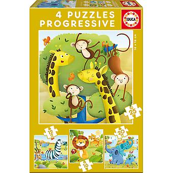 Educa Puzzle Progresivo 12-16-20-25 Animales (Toys , Preschool , Puzzles And Blocs)
