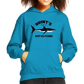 Quints Deep Sea Fishing Jaws Kid's Hooded Sweatshirt