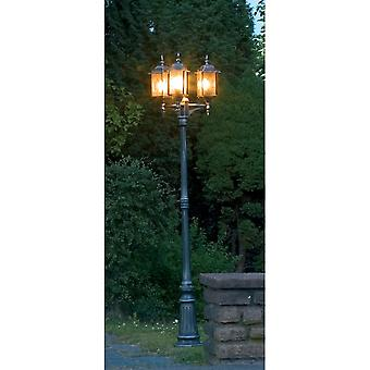 Konstsmide Milano Black Driveway 3 Lantern Outdoor Pole Light