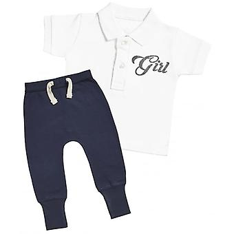 Spoilt Rotten Girl Design Baby Polo T-Shirt & Navy Joggers Outfit Set