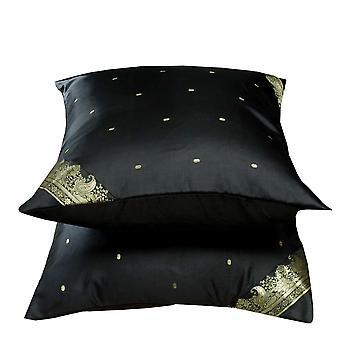 Negro-decorativos hechos a mano fundas de colchón, funda de almohada de tiro simulado de Euro - 6 tamaños