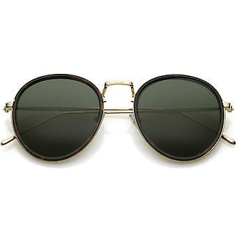 Moderne Runde Sonnenbrille gravierte schlanke Metallarmen Neutral flach Farbe Linse