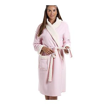 Camille Womens Pink Stay Soft Bonded Fleece Dressing Gown