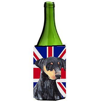 Doberman with English Union Jack British Flag Wine Bottle Beverage Insulator Hug