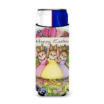 Three Bunnies Happy Easter Ultra Beverage Insulators for slim cans