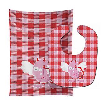 Cupid Monster Angel on Plaid #2 Baby Bib & Burp Cloth