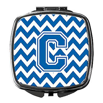 Carolines tesouros CJ1056-BTMM letra C Chevron azul e branco espelho compacto