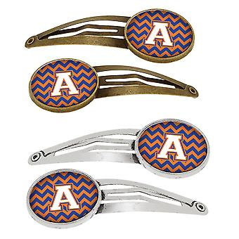 Letter A Chevron Blue and Orange #3 Set of 4 Barrettes Hair Clips
