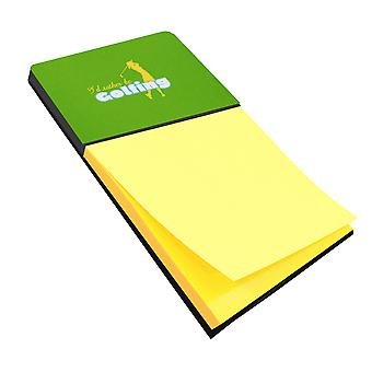 I'd rather be Golfing Woman on Green Refiillable Sticky Note Holder or Postit No