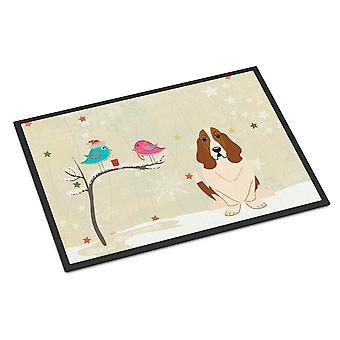 Christmas Presents between Friends Basset Hound Indoor or Outdoor Mat 24x36