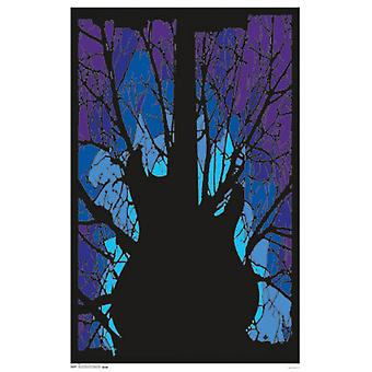 Black Light - Woods Guitar Poster Poster Print