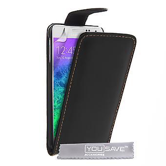 Samsung Galaxy Alpha Leder-Effekt Flip Case - schwarz