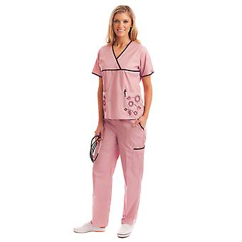 Womens unikke blomstret broderi Medical Uniform