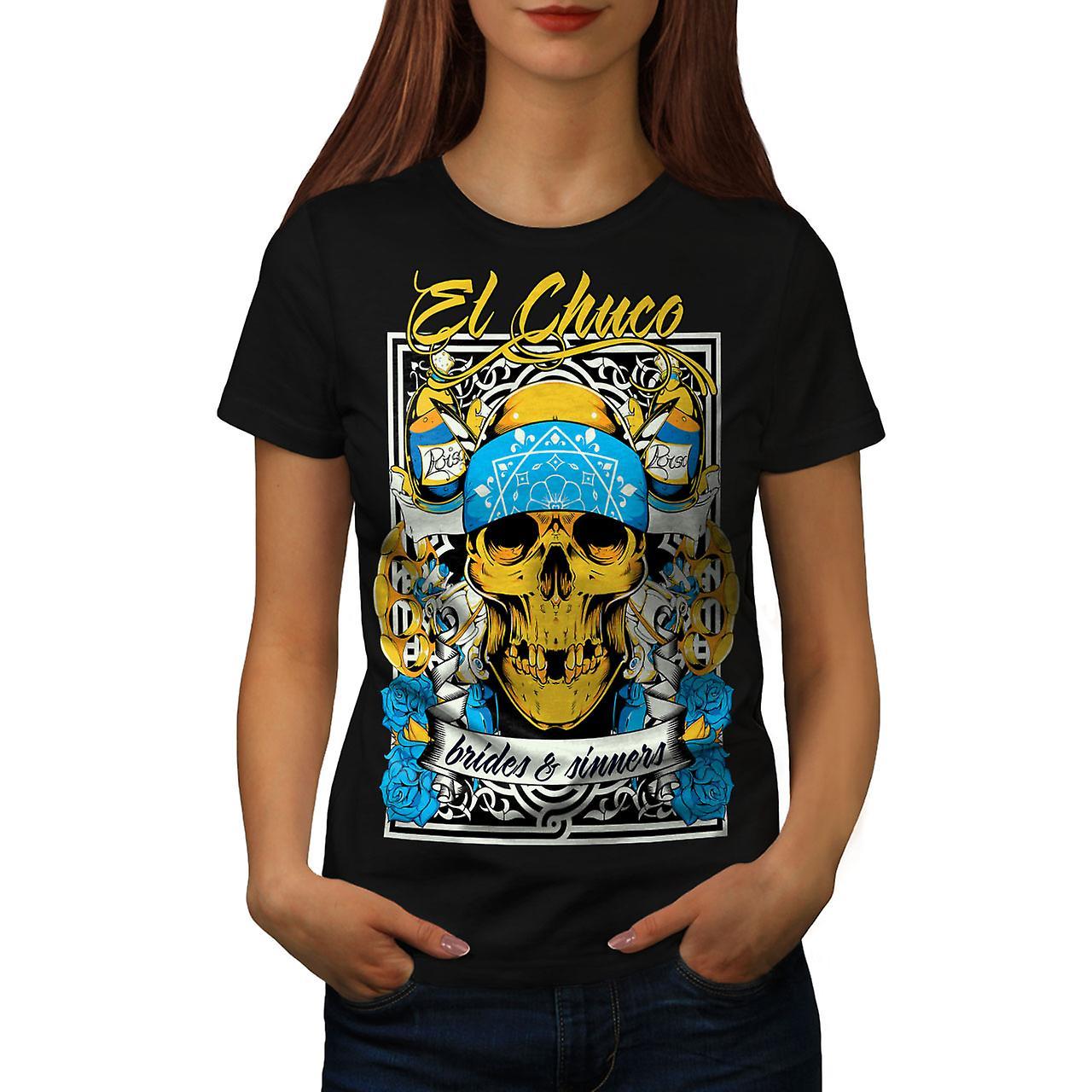 Bride Sin Skull Gangster Women Black T-shirt | Wellcoda