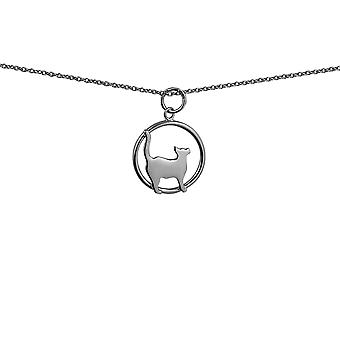 Silver 16x18mm standing Cat looking to the right in a circle Pendant with rolo Chain 14 inches Only Suitable for Children