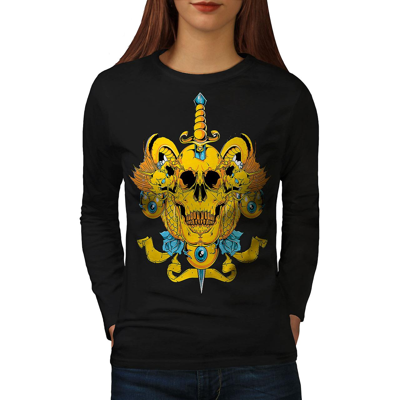 Death Eye Rose Art Women BlackLong Sleeve T-shirt | Wellcoda