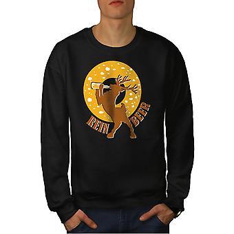 Deer Beer Funny Men BlackSweatshirt   Wellcoda