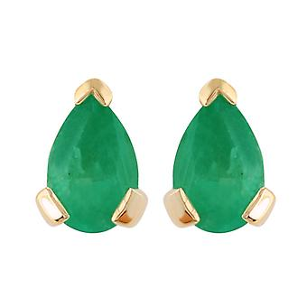 Gemondo 9ct Yellow Gold 0.75ct Emerald Single Stone Pear Stud Earrings