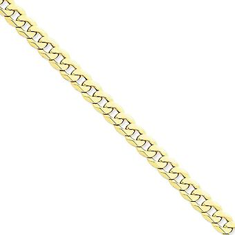 14k Yellow Gold 8mm Wide Solid, Polished Curb Chain Anklet Ankle Bracelet