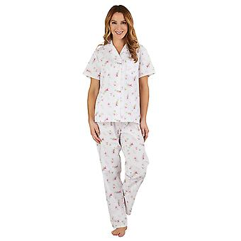 Slenderella PJ1207 Women's Floral Pink 100% Cotton Pajama Short Sleeved Pyjama Set