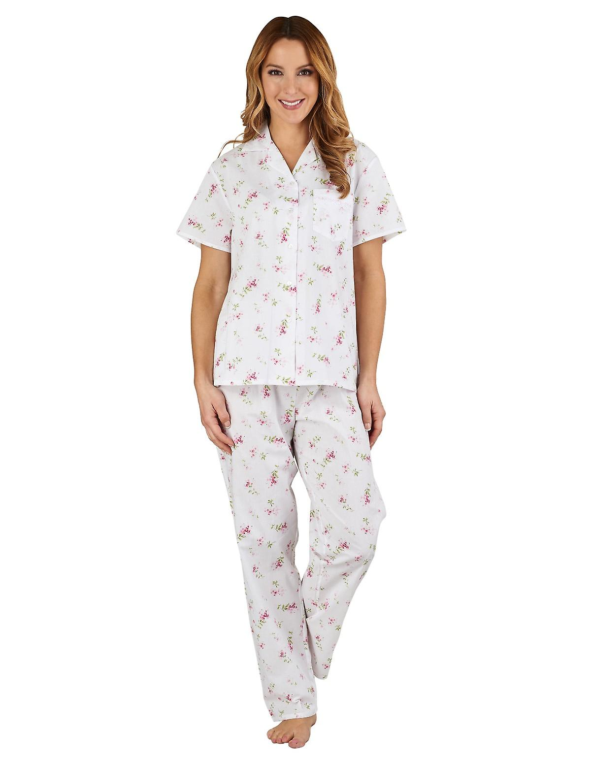 Slenderella PJ1207 Women's Floral Pink 100% Cotton Pajama Short Sleeved Pyjama Set
