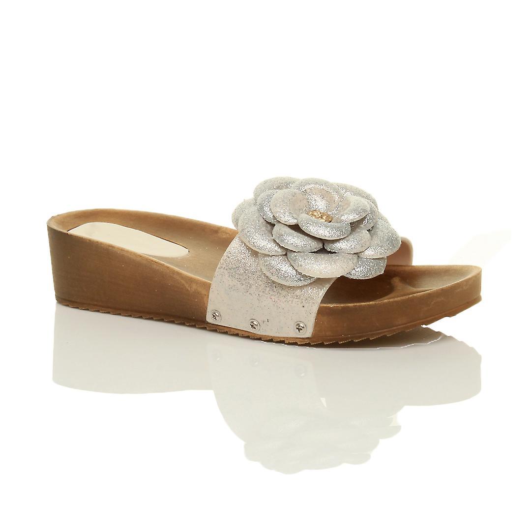 Ajvani womens mid high heel wedge flatform platform glitter flower slip on mules sandals shoes