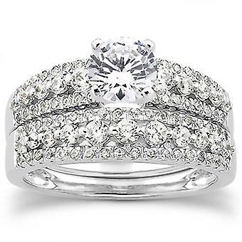 7 / 8ct бриллиантовое обручальное свадьба для новобрачных кольцо набор